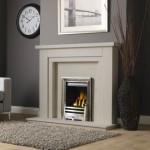 """Hanley 54"""" Limestone Charlotte Cast Gas Fire"""