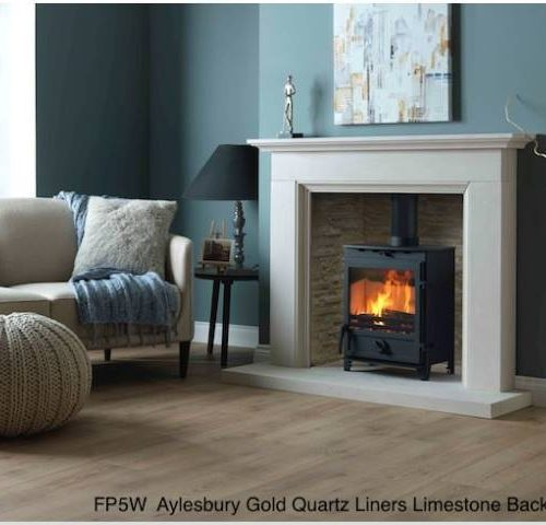 FP5W Aylesbury Gold Quartz Liners Limestone Back Hearth