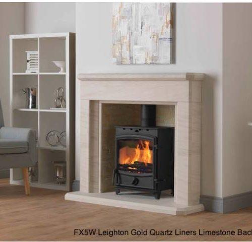 FX5W Leighton Gold Quartz liners Limestone Back Hearth
