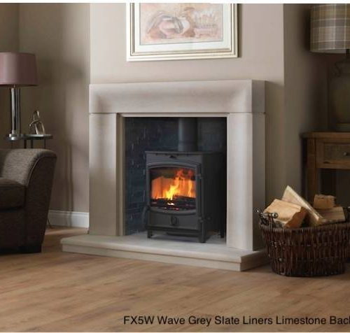 FX5W Wave Grey Slate Liners Limestone Back Hearth
