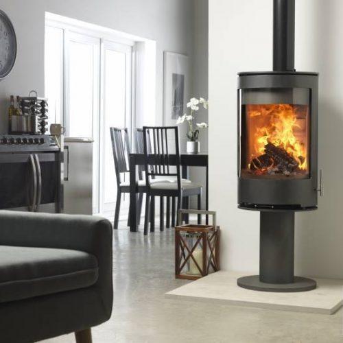 Purevision PVR Cylinder multi fuel stove on pedestal stands