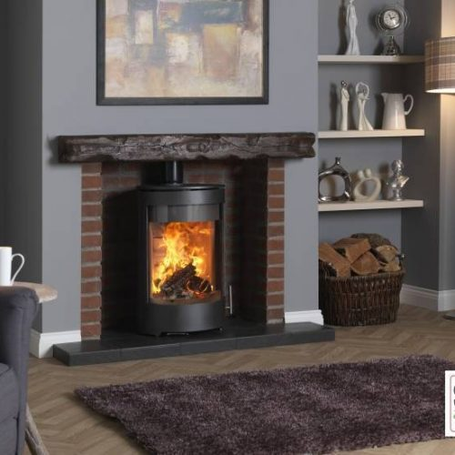 Purevision PVR cylinder multi fuel stove in Inglenook