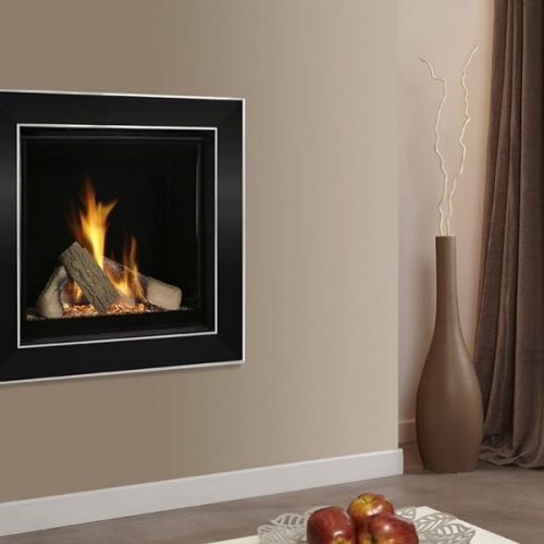 Asencio Wall Inset Gas Fire Black nickel